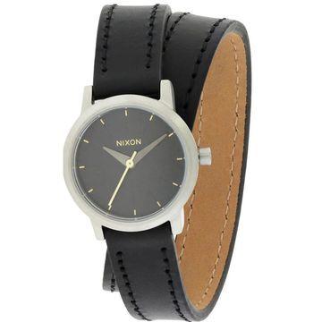 Nixon Kenzi Women's Black Leather Stainless Steel Wrap Watch