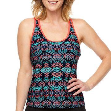 Zeroxposur Geometric Tankini Swimsuit Top