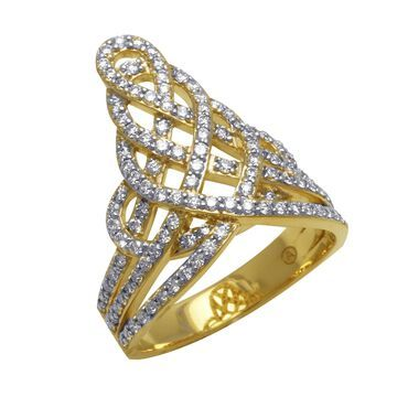 14kt Yellow Gold 1 ct Diamonds Rows Ring by Beverly Hills Charm - White H-I