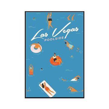 Las Vegas, Nevada - Aerial Pool Scene - Lantern Press Artwork (12x18 Framed Gallery Wrapped Stretched Canvas)