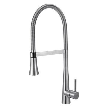 ALFI Brand Brushed Gooseneck Single Hole Faucet With Spray Head
