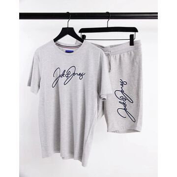 Jack & Jones script t-shirt and short set in gray-Grey