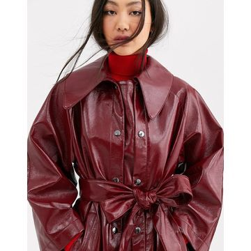 ASOS WHITE vinyl trench coat-Red
