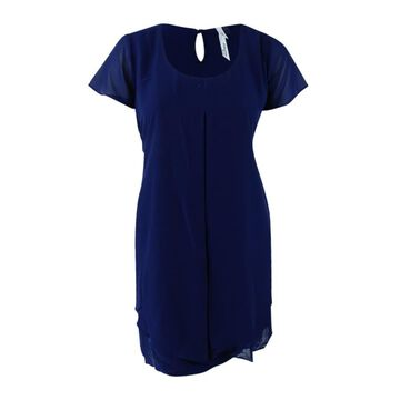 Ny Collection Women's Plus Size Cap-Sleeve Shift Dress - Navy
