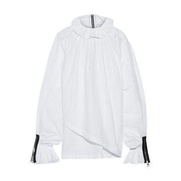 J.w.anderson Asymmetric Zip-detailed Cotton-poplin Blouse