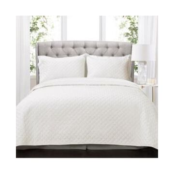 Lush Decor Ava Diamond Oversized Cotton 3 Piece Quilt Set, King