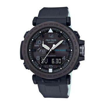 Casio Men's Pro Trek Solar Powered Triple Sensor Watch, Black Silicone Strap