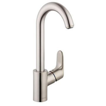 Hansgrohe Focus Steel Optic 1-Handle Deck-Mount High-Arc Handle Kitchen Faucet