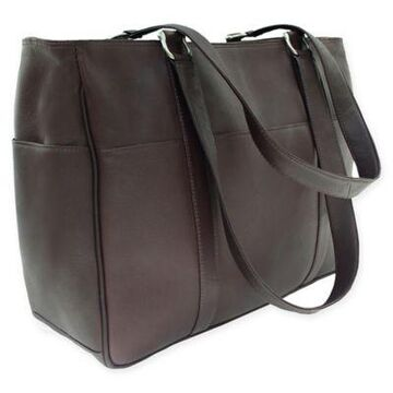 Piel Leather 17-Inch Classic Shopping Bag in Chocolate