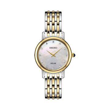 Seiko Women's Diamond Accent Two Tone Stainless Steel Solar Watch - SUP398