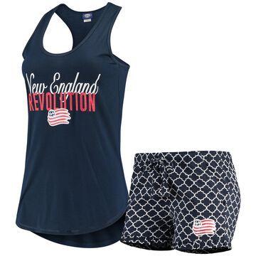 Women's Concepts Sport Navy/White New England Revolution Slumber Ruffle Shorts & Tank Top Sleep Set