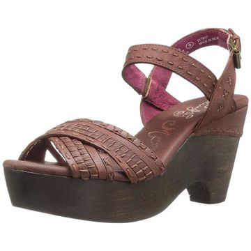 Naughty Monkey Womens Calla Leather Open Toe Casual Slingback Sandals