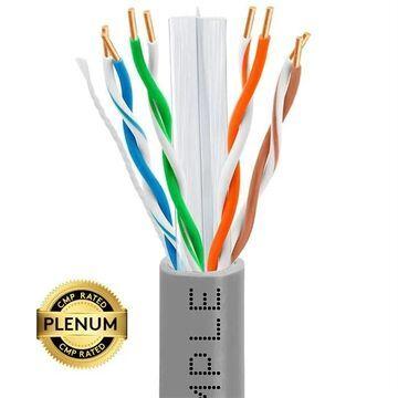 1321-N Cat6 Bulk Plenum Ethernet 23AWG Cable - 550MHz, 1000 ft. - Gray