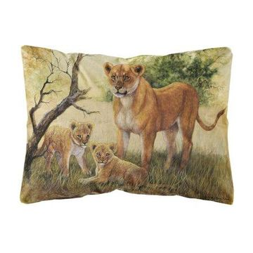 Lion and Cubs by Daphne Baxter Fabric Decorative Pillow