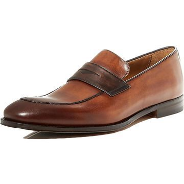 Bruno Magli Mens Fanetta Penny Loafers Burnished Leather - Cognac/Dark Brown