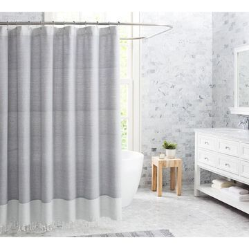 Fringe Cotton Shower Curtain Gray - VCNY