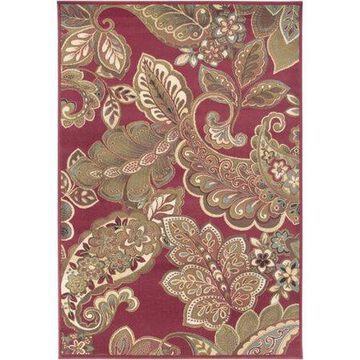 """Art of Knot Cerastium Red 3'11"""" x 5'3"""" Traditional Floral Area Rug"""