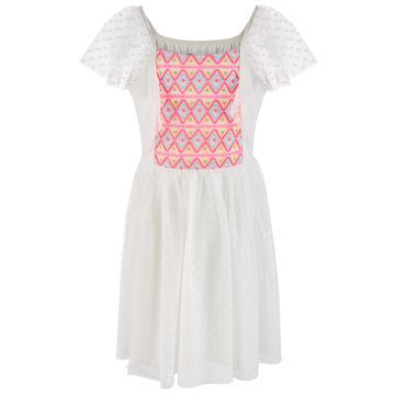 Little Girls Embroidered Dot Mesh Dress, Created for Macy's