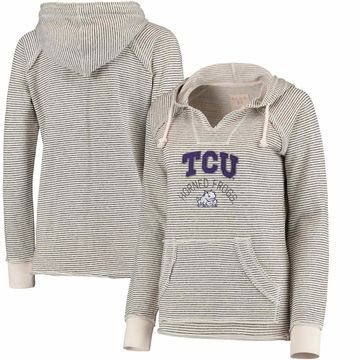 TCU Horned Frogs Blue 84 Women's Striped French Terry V-Neck Hoodie - Cream