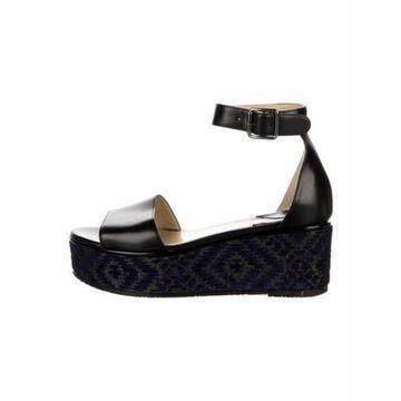 Leather Printed Sandals Black