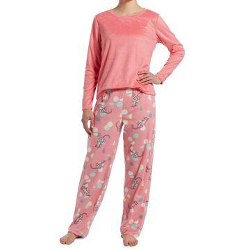 Sueded Fleece Top & Printed Pants Pajama Set, Online Only