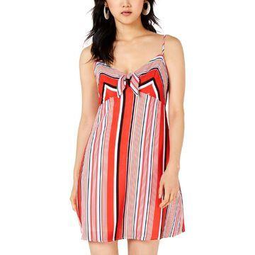 Trixxi Womens Striped Tie Front Casual Dress