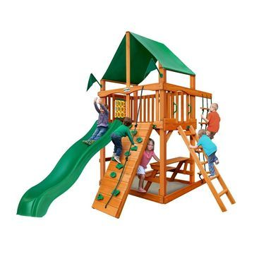 Gorilla Playsets Chateau Tower Cedar Swing Set with Green Vinyl Canopy and Natural Cedar Posts - Brown