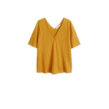 Violeta BY MANGO - Flecked striped t-shirt curry - XS - Plus sizes