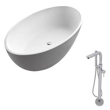 ANZZI Cestino 5.5 ft. ANZZI Stone Freestading Bathtub and Sens Faucet