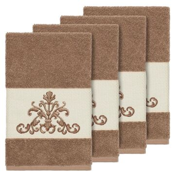 Authentic Hotel and Spa Latte Brown Turkish Cotton Scrollwork Embroidered Hand Towels (Set of 4)