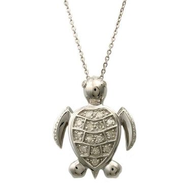 Beverly Hills Charm Silver 1/4ct TDW Diamond Turtle Necklace (H-I, I2-I3) (Diamond Turtle Necklace)