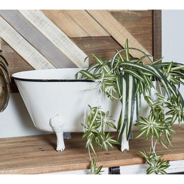 Farmhouse 9 Inch White Metal Tub Flower Planter by Studio 350