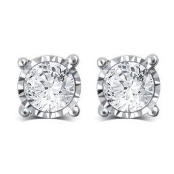 Divina 14k White Gold 1 1/2ct TDW Diamond Miracle Plate Stud Earrings