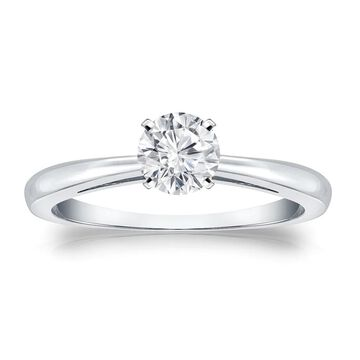 Auriya Platinum 1/3ctw Round Solitaire Diamond Engagement Ring