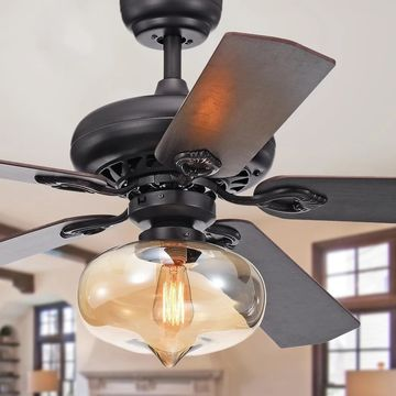 Figuera 52-Inch 5-Blade Antique Black Lighted Ceiling Fans w/ Clear Amber Glass Shade (Remote Controlled&2 Color Option Blades)