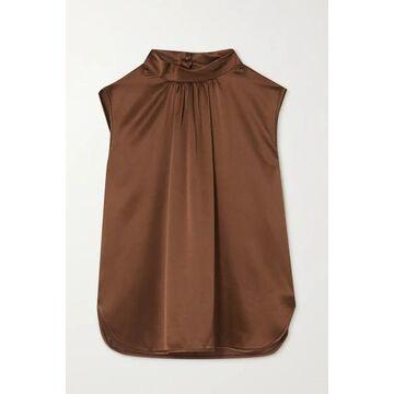 Max Mara - Dorina Gathered Silk-satin Blouse - Brown