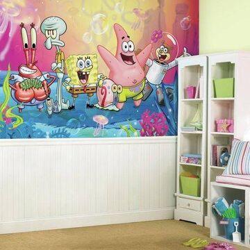 RoomMates Decor SpongeBob Squarepants XL Chair Rail Prepasted Mural, 6' x 10.5', Ultra-Strippable