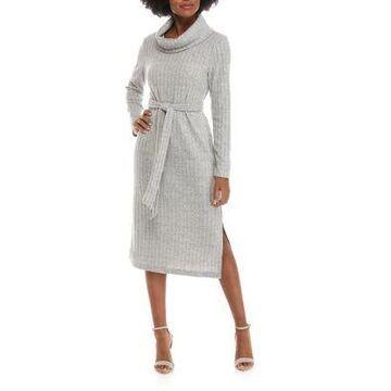 Ronni Nicole Women's Cowl Neck Belted Knit Midi Dress -
