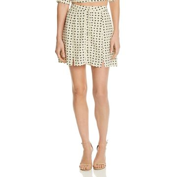 For Love & Lemons Womens Sweetheart Printed Split Hem Mini Skirt