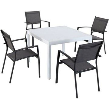 Hanover Del Mar 5-Piece Outdoor Dining Set with 4 Sling Arm Chairs and a 38