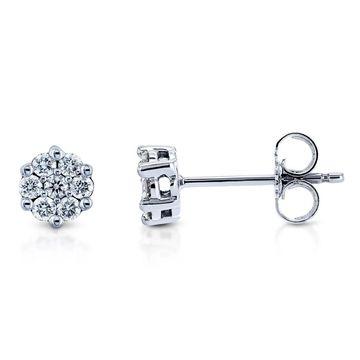 Annello by Kobelli 10k Gold 1/4 Carat TDW Diamond Cluster Round Girls Earrings