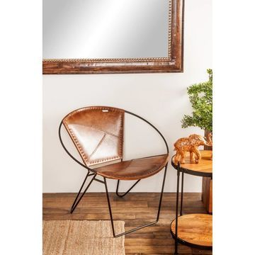 Modern 29 x 30 Inch Leather and Iron Chair by Studio 350