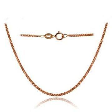 Mondevio 14k White Gold .8mm Spiga Wheat Italian Chain Necklace, 24 Inches (Rose)