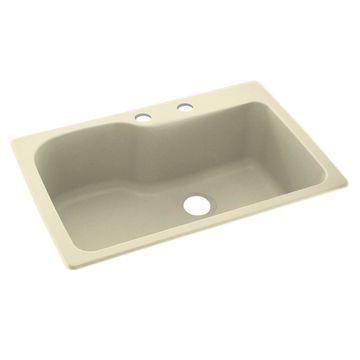 Swanstone 33-in x 22-in Bone Single-Basin Drop-in 2-Hole Residential Kitchen Sink