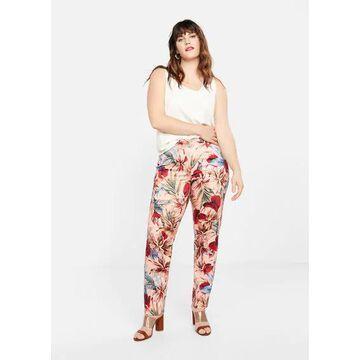Violeta BY MANGO - Tropical print trousers pink - M - Plus sizes