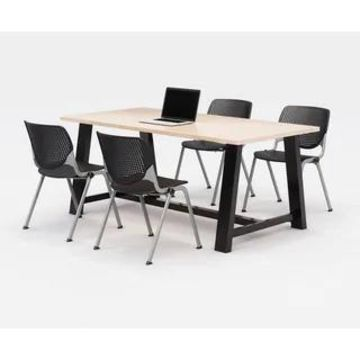 KFI Midtown Office Table Set, Maple Top, 4 KOOL Chairs (Black Chairs)