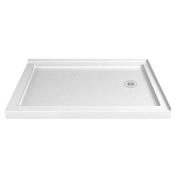 DreamLine SlimLine 36 in. D x 54 in. W x 2 3/4 in. H Right Drain Double Threshold Shower Base in White