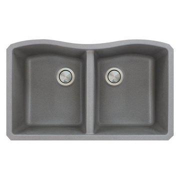 Transolid Aversa Granite Undermount Double Bowl Kitchen Sink, 32
