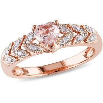 1/2 Carat T.G.W. Morganite and Diamond-Accent 10kt Rose Gold Ring