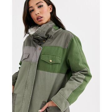 One Teaspoon oversized contrast khaki coat with faux sherling-Green